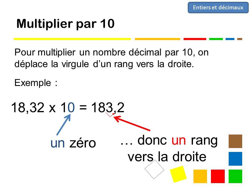 Multiplier par 10 Pour multiplier un nombre décimal par 10, on déplace la virgule dun rang vers la droite.