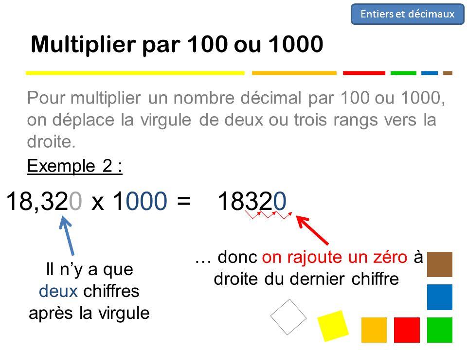 Multiplier par 100 ou 1000 Pour multiplier un nombre décimal par 100 ou 1000, on déplace la virgule de deux ou trois rangs vers la droite.