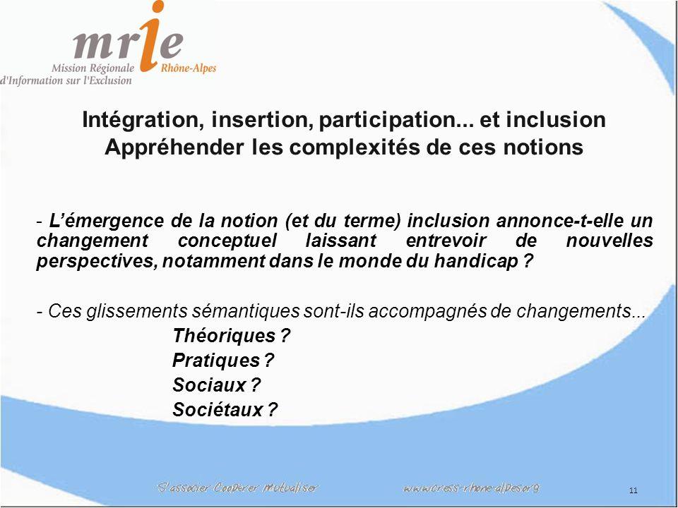 12 Avant linclusion...lintégration et linsertion Auparavant, les questions portaient plus sur « lintégration et linsertion ».