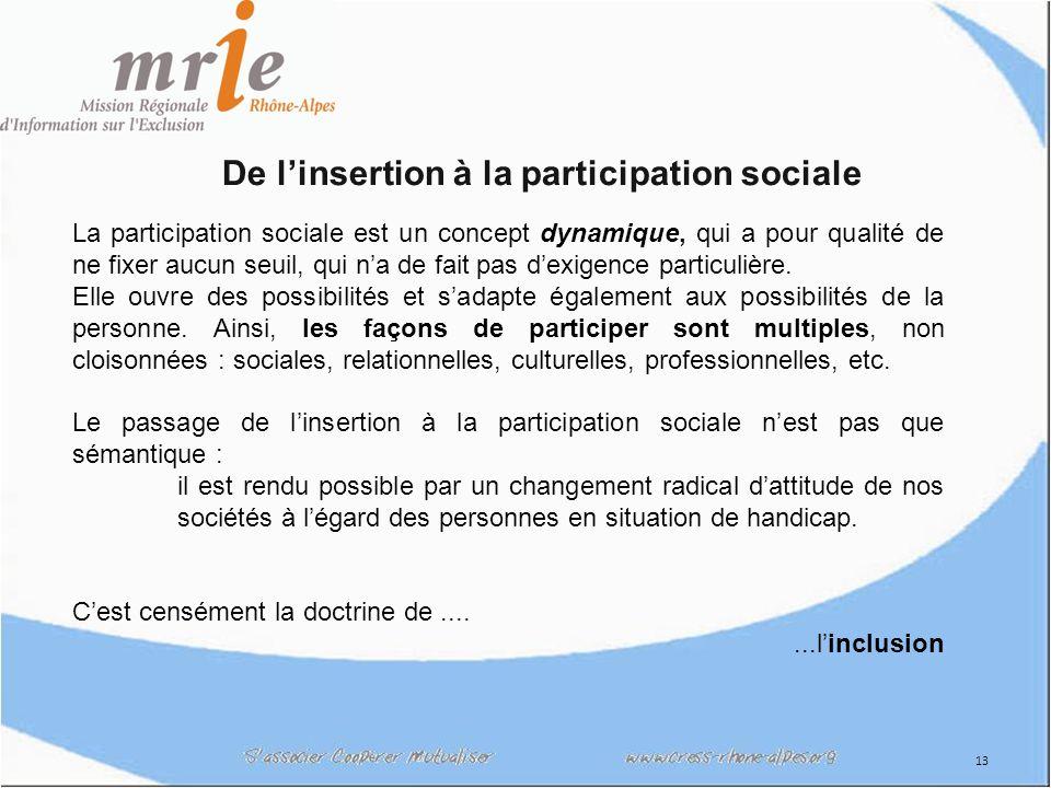 13 De linsertion à la participation sociale La participation sociale est un concept dynamique, qui a pour qualité de ne fixer aucun seuil, qui na de fait pas dexigence particulière.