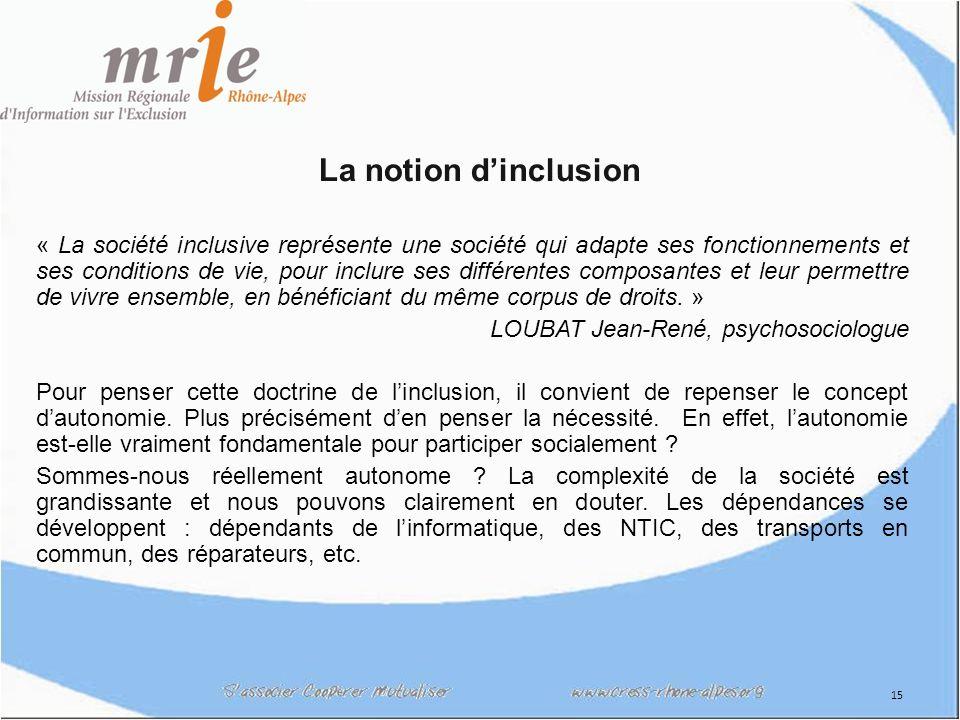 16 La notion dinclusion L inclusion sociale consiste à faire en sorte que tous les enfants et adultes aient les moyens de participer en tant que membres valorisés, respectés et contribuant à leur communauté et à la société...