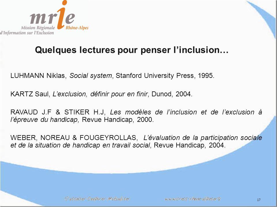 17 Quelques lectures pour penser linclusion… LUHMANN Niklas, Social system, Stanford University Press, 1995.