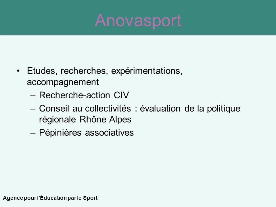 Anovasport Etudes, recherches, expérimentations, accompagnement –Recherche-action CIV –Conseil au collectivités : évaluation de la politique régionale