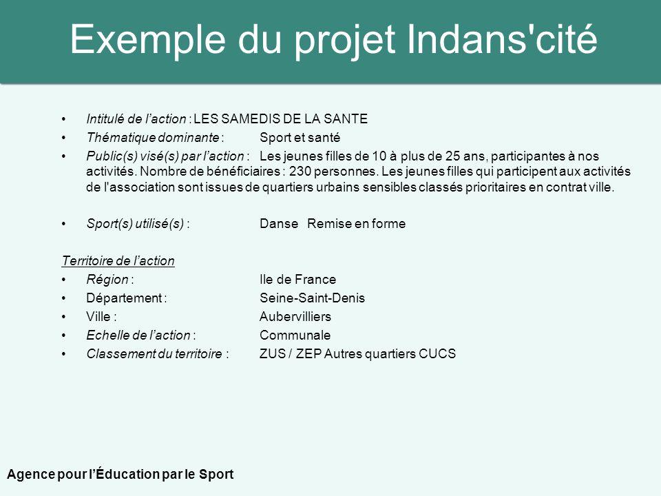 Exemple du projet Indans'cité Intitulé de laction :LES SAMEDIS DE LA SANTE Thématique dominante : Sport et santé Public(s) visé(s) par laction : Les j