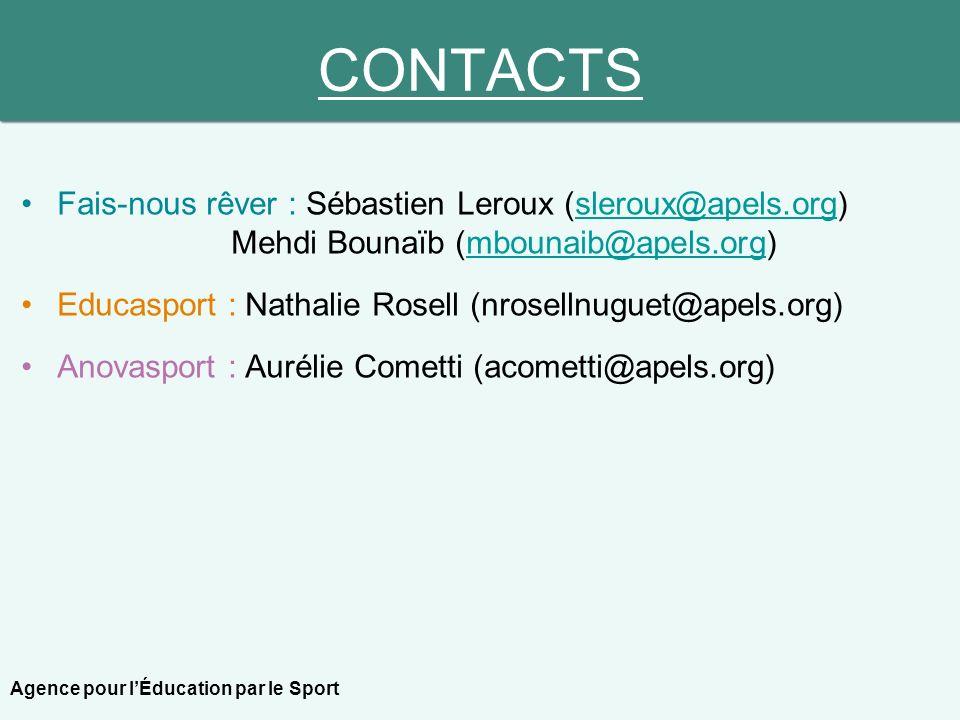 CONTACTS Fais-nous rêver : Sébastien Leroux (sleroux@apels.org) Mehdi Bounaïb (mbounaib@apels.org)sleroux@apels.orgmbounaib@apels.org Educasport : Nat