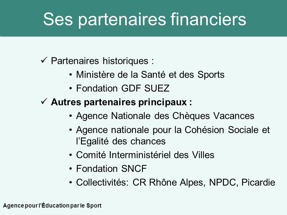 Ses partenaires financiers Partenaires historiques : Ministère de la Santé et des Sports Fondation GDF SUEZ Autres partenaires principaux : Agence Nat