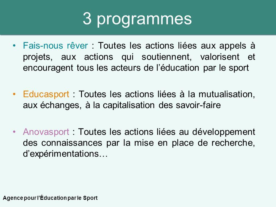 3 programmes Fais-nous rêver : Toutes les actions liées aux appels à projets, aux actions qui soutiennent, valorisent et encouragent tous les acteurs
