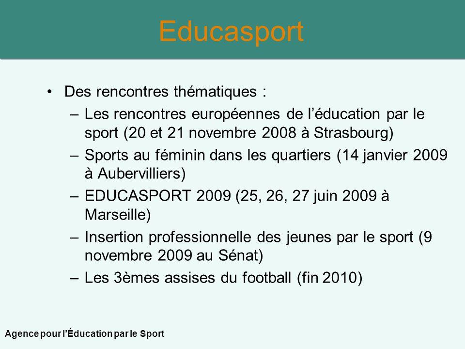 Des rencontres thématiques : –Les rencontres européennes de léducation par le sport (20 et 21 novembre 2008 à Strasbourg) –Sports au féminin dans les