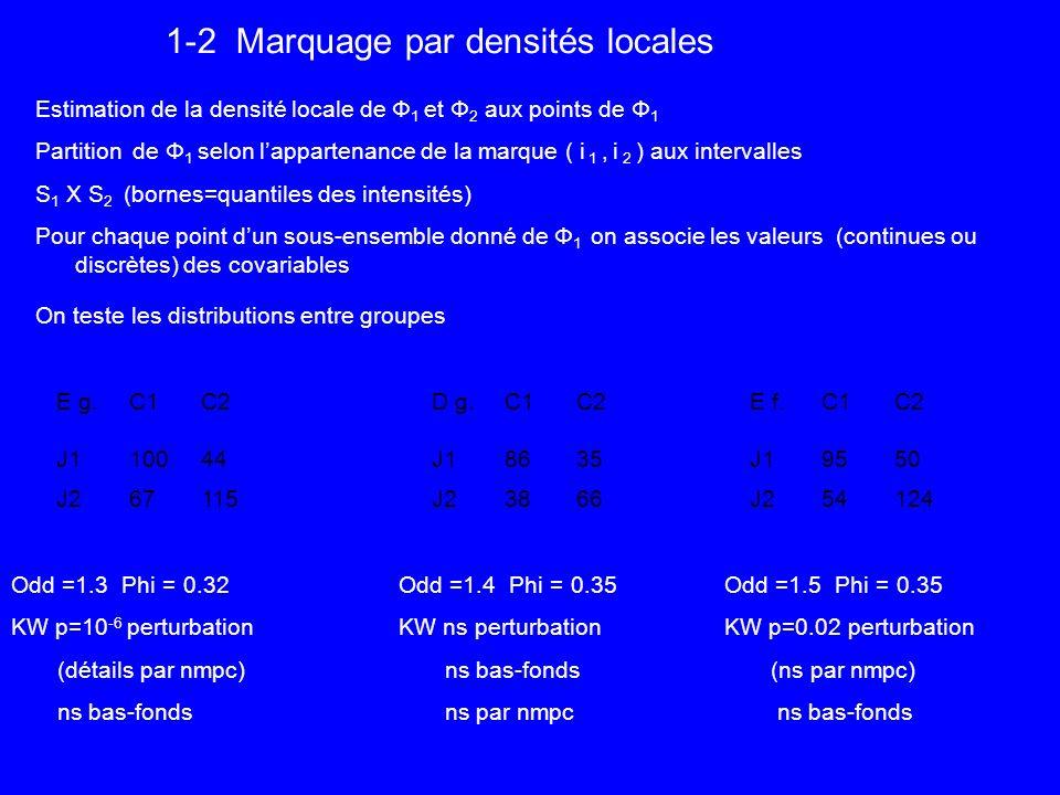 1-2 Marquage par densités locales Estimation de la densité locale de Φ 1 et Φ 2 aux points de Φ 1 Partition de Φ 1 selon lappartenance de la marque ( i 1, i 2 ) aux intervalles S 1 X S 2 (bornes=quantiles des intensités) Pour chaque point dun sous-ensemble donné de Φ 1 on associe les valeurs (continues ou discrètes) des covariables On teste les distributions entre groupes Odd =1.3 Phi = 0.32 KW p=10 -6 perturbation (détails par nmpc) ns bas-fonds D g.C1C2 J18635 J23866 E f.C1C2 J19550 J254124 Odd =1.4 Phi = 0.35 KW ns perturbation ns bas-fonds ns par nmpc E g.C1C2 J110044 J267115 Odd =1.5 Phi = 0.35 KW p=0.02 perturbation (ns par nmpc) ns bas-fonds
