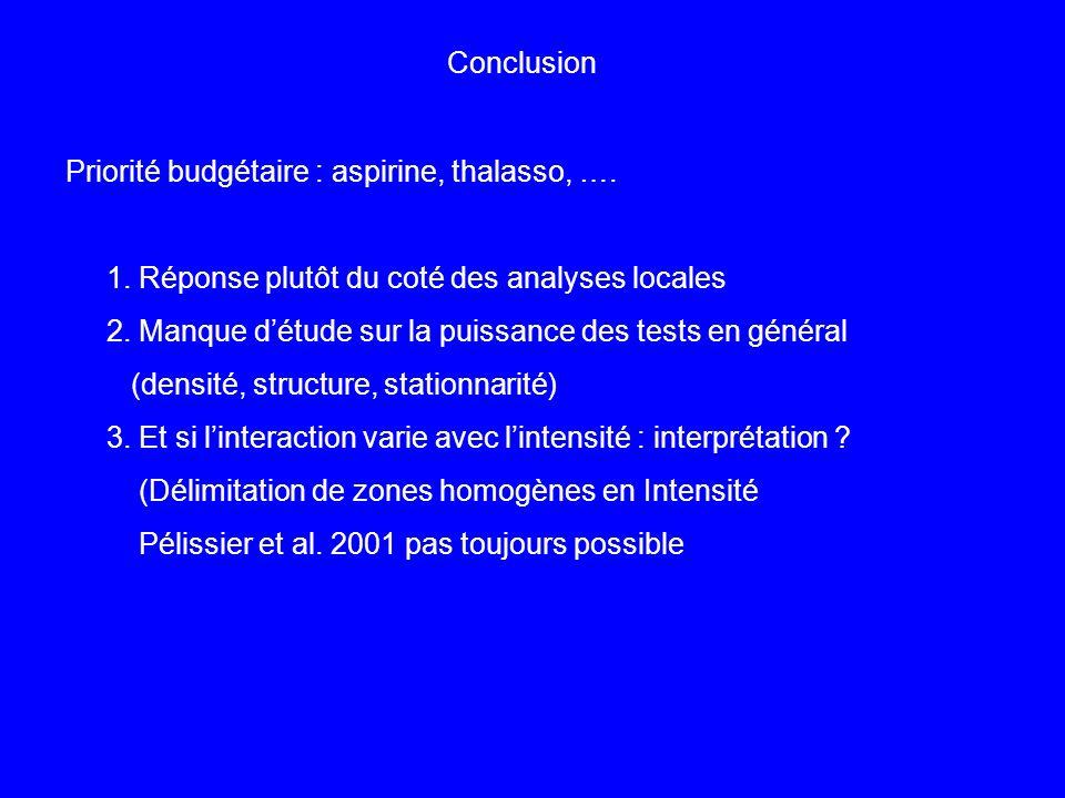 Conclusion Priorité budgétaire : aspirine, thalasso, …. 1. Réponse plutôt du coté des analyses locales 2. Manque détude sur la puissance des tests en
