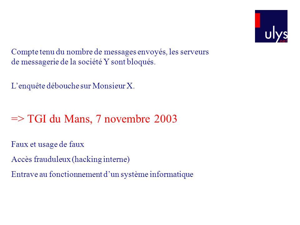 Faux et usage de faux Accès frauduleux (hacking interne) Entrave au fonctionnement dun système informatique => TGI du Mans, 7 novembre 2003 Compte tenu du nombre de messages envoyés, les serveurs de messagerie de la société Y sont bloqués.