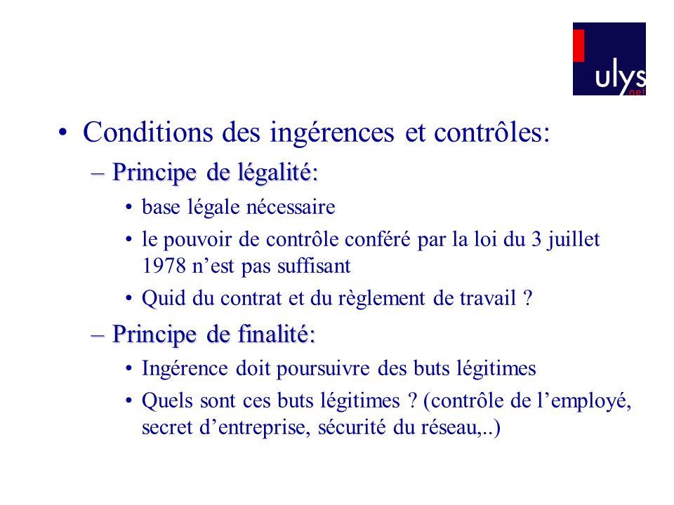 Conditions des ingérences et contrôles: –Principe de légalité: base légale nécessaire le pouvoir de contrôle conféré par la loi du 3 juillet 1978 nest pas suffisant Quid du contrat et du règlement de travail .