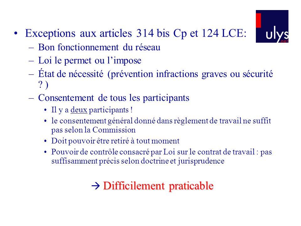 Exceptions aux articles 314 bis Cp et 124 LCE: –Bon fonctionnement du réseau –Loi le permet ou limpose –État de nécessité (prévention infractions graves ou sécurité .