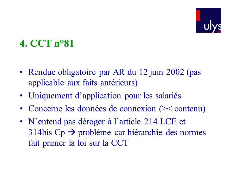 4. CCT n°81 Rendue obligatoire par AR du 12 juin 2002 (pas applicable aux faits antérieurs) Uniquement dapplication pour les salariés Concerne les don
