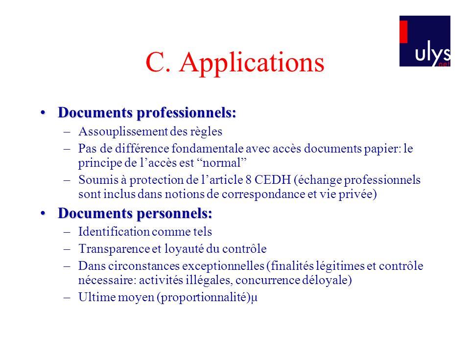 C. Applications Documents professionnels:Documents professionnels: –Assouplissement des règles –Pas de différence fondamentale avec accès documents pa