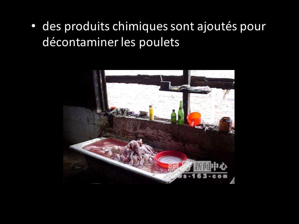des produits chimiques sont ajoutés pour décontaminer les poulets