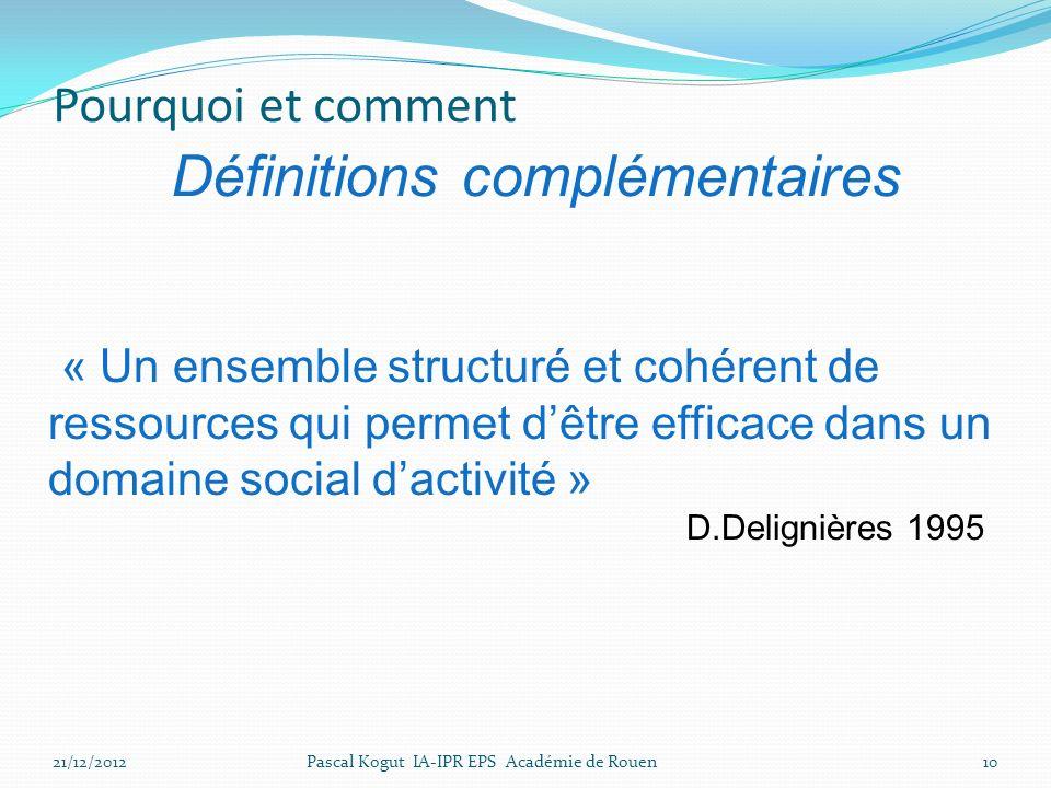 « Un ensemble structuré et cohérent de ressources qui permet dêtre efficace dans un domaine social dactivité » D.Delignières 1995 21/12/201210Pascal Kogut IA-IPR EPS Académie de Rouen