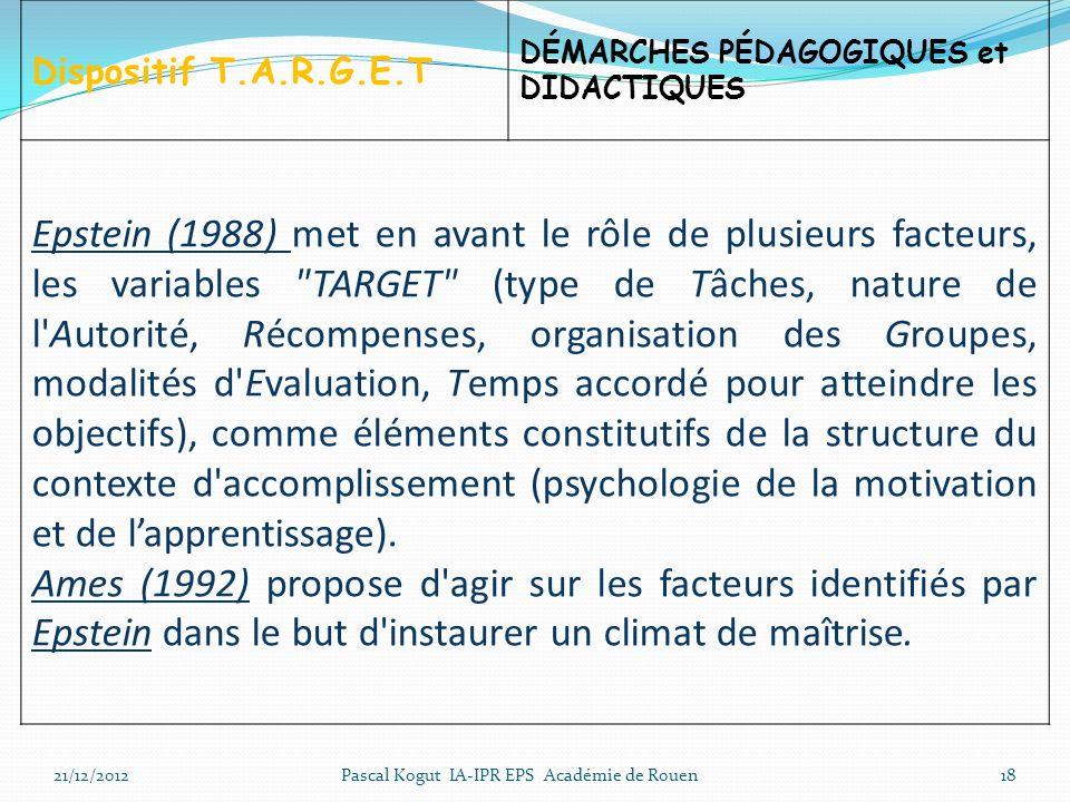 18 Dispositif T.A.R.G.E.T DÉMARCHES PÉDAGOGIQUES et DIDACTIQUES Epstein (1988) met en avant le rôle de plusieurs facteurs, les variables TARGET (type de Tâches, nature de l Autorité, Récompenses, organisation des Groupes, modalités d Evaluation, Temps accordé pour atteindre les objectifs), comme éléments constitutifs de la structure du contexte d accomplissement (psychologie de la motivation et de lapprentissage).