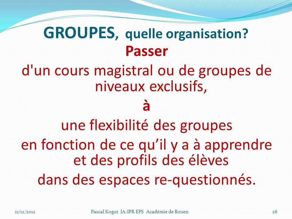 26 GROUPES, quelle organisation.
