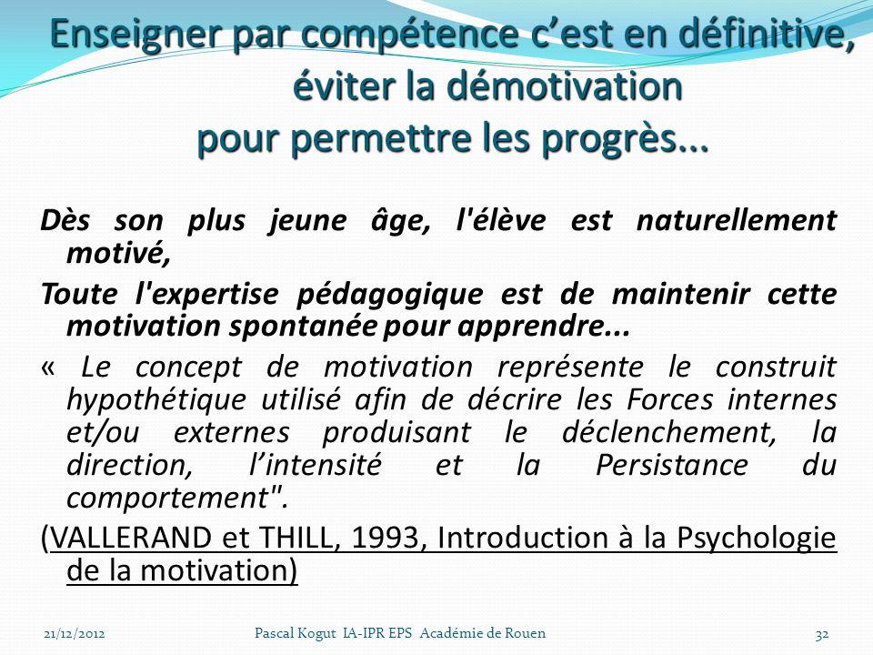 32 Dès son plus jeune âge, l élève est naturellement motivé, Toute l expertise pédagogique est de maintenir cette motivation spontanée pour apprendre...