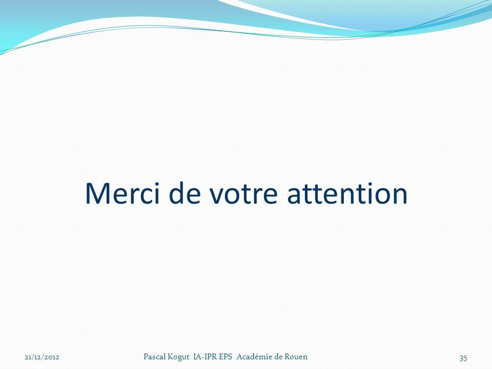 Merci de votre attention 21/12/2012Pascal Kogut IA-IPR EPS Académie de Rouen35