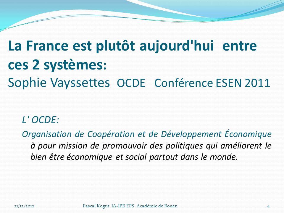 La France est plutôt aujourd hui entre ces 2 systèmes : Sophie Vayssettes OCDE Conférence ESEN 2011 L OCDE: Organisation de Coopération et de Développement Économique à pour mission de promouvoir des politiques qui améliorent le bien être économique et social partout dans le monde.