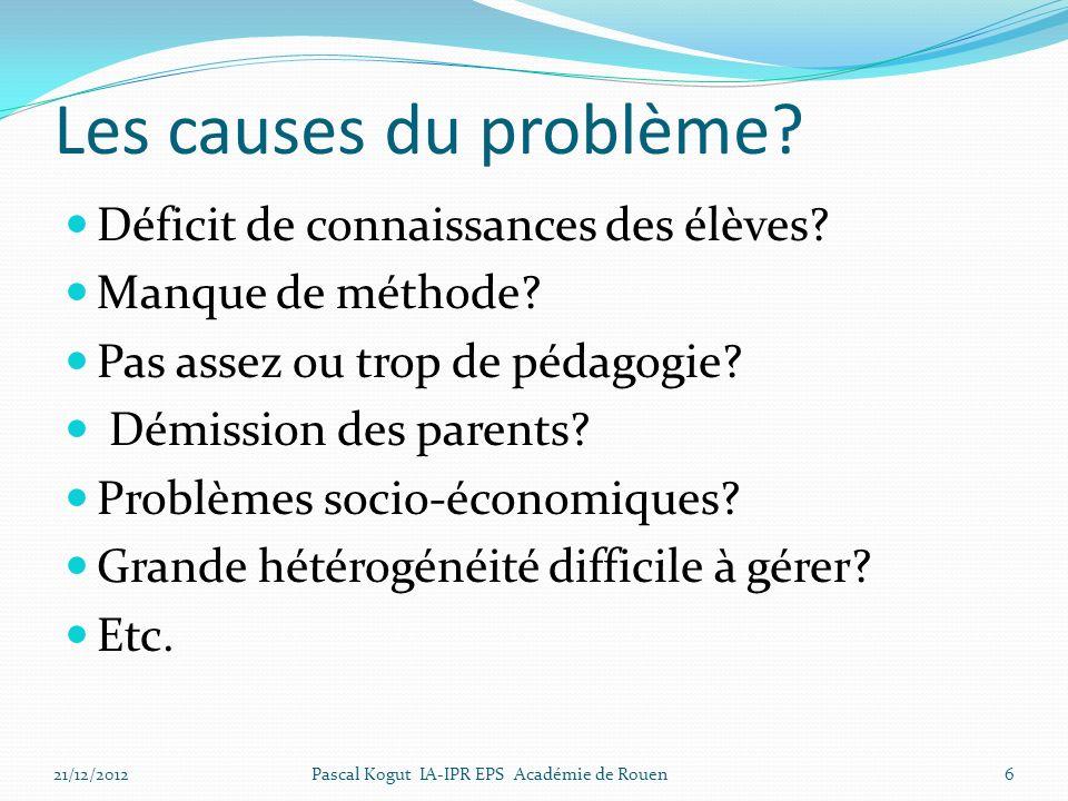 Les causes du problème.Déficit de connaissances des élèves.