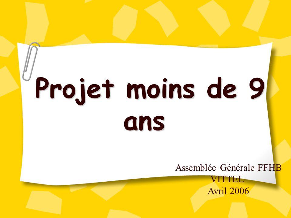 Assemblée Générale FFHB VITTEL Avril 2006 Projet moins de 9 ans Projet moins de 9 ans