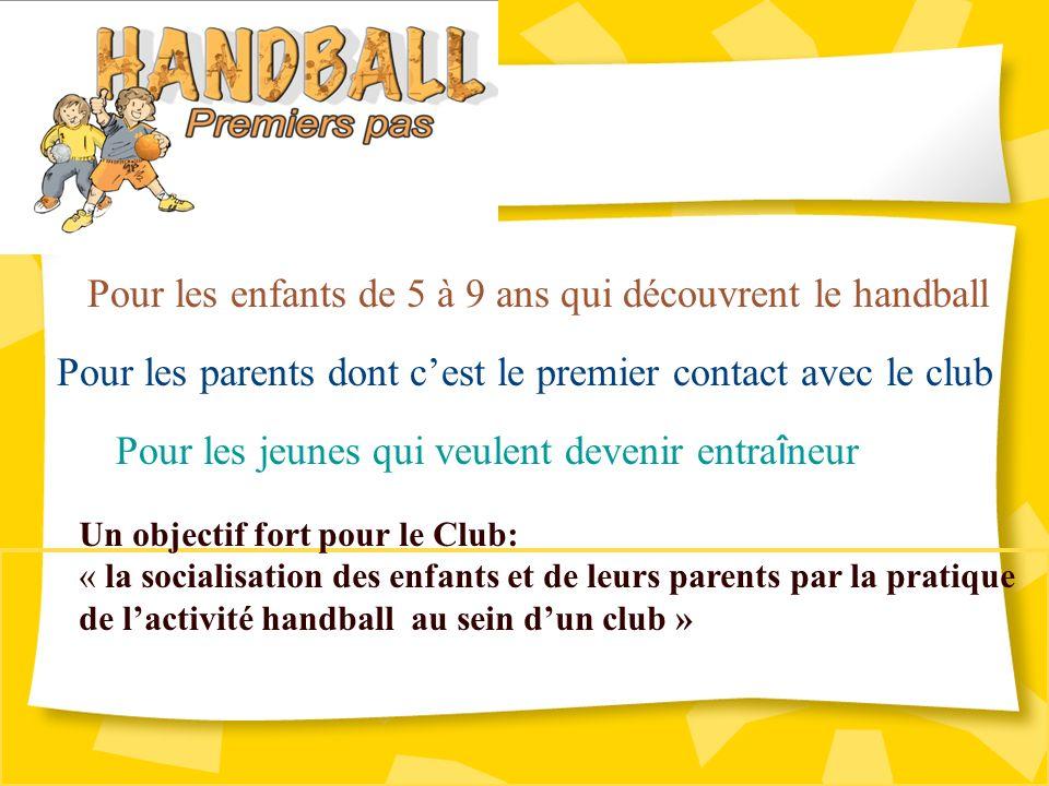 Pour les enfants de 5 à 9 ans qui découvrent le handball Pour les parents dont cest le premier contact avec le club Pour les jeunes qui veulent devenir entra î neur Un objectif fort pour le Club: « la socialisation des enfants et de leurs parents par la pratique de lactivité handball au sein dun club »