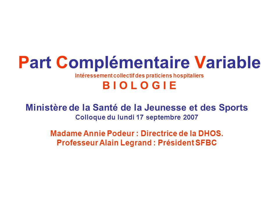 Part Complémentaire Variable Intéressement collectif des praticiens hospitaliers B I O L O G I E Ministère de la Santé de la Jeunesse et des Sports Co