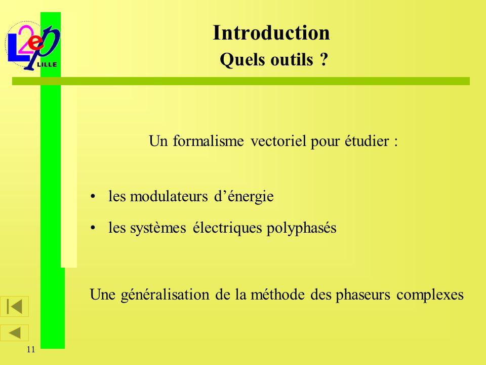 11 Introduction Quels outils ? les modulateurs dénergie les systèmes électriques polyphasés Un formalisme vectoriel pour étudier : Une généralisation