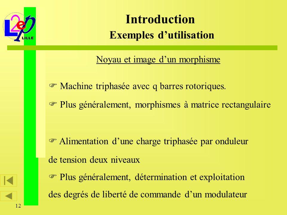 12 Machine triphasée avec q barres rotoriques. Plus généralement, morphismes à matrice rectangulaire Noyau et image dun morphisme Alimentation dune ch