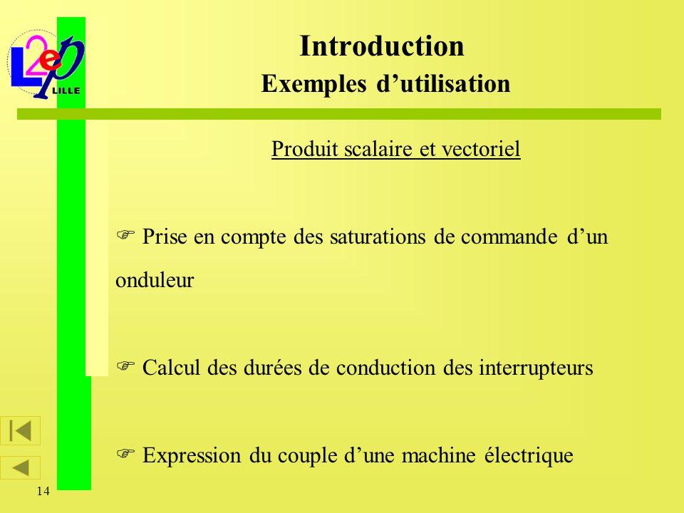 14 Produit scalaire et vectoriel Prise en compte des saturations de commande dun onduleur Calcul des durées de conduction des interrupteurs Expression