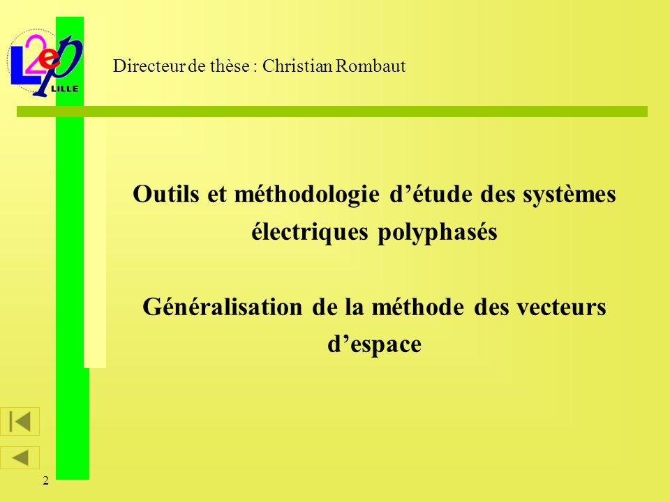 2 Outils et méthodologie détude des systèmes électriques polyphasés Généralisation de la méthode des vecteurs despace Directeur de thèse : Christian R