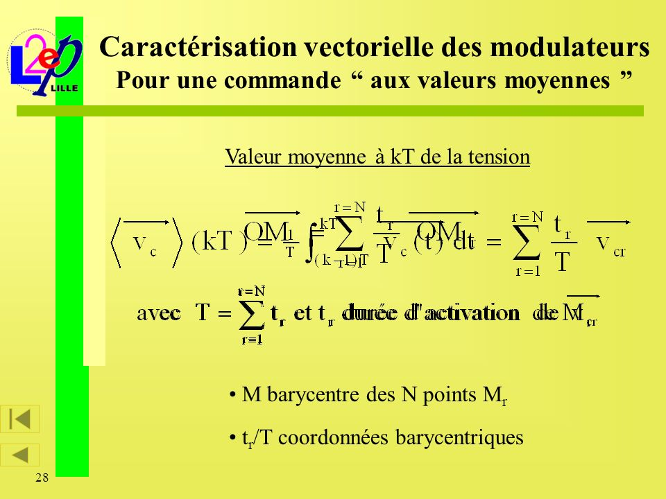 28 Valeur moyenne à kT de la tension Caractérisation vectorielle des modulateurs Pour une commande aux valeurs moyennes M barycentre des N points M r