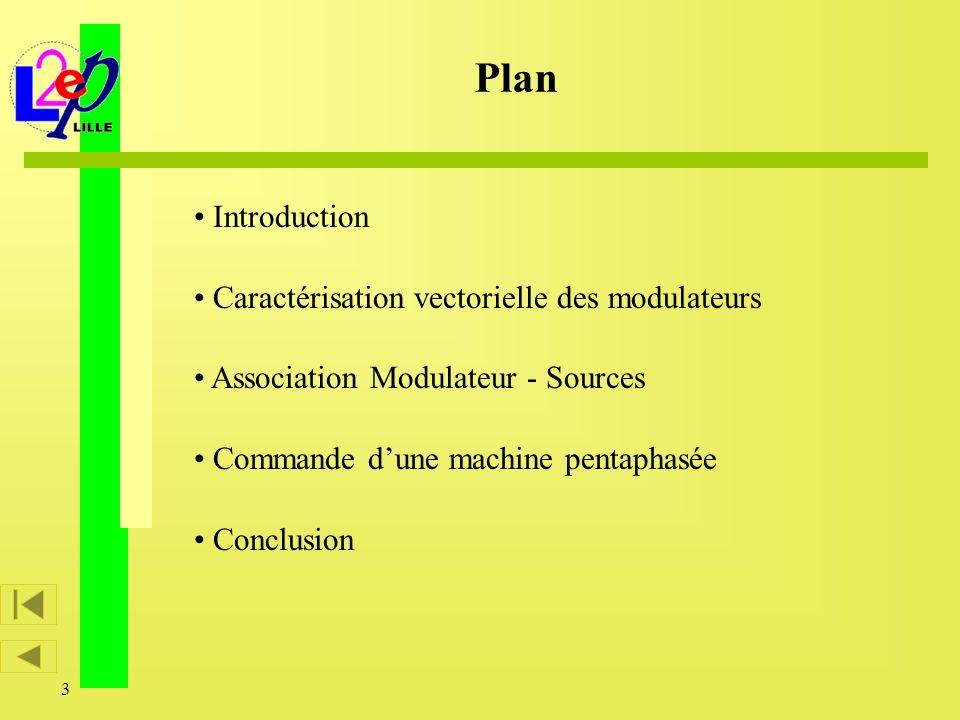 3 Introduction Caractérisation vectorielle des modulateurs Association Modulateur - Sources Commande dune machine pentaphasée Conclusion Plan