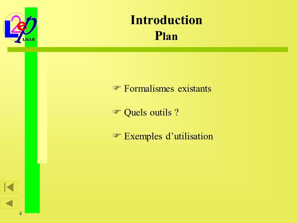4 Formalismes existants Quels outils ? Exemples dutilisation Introduction P lan