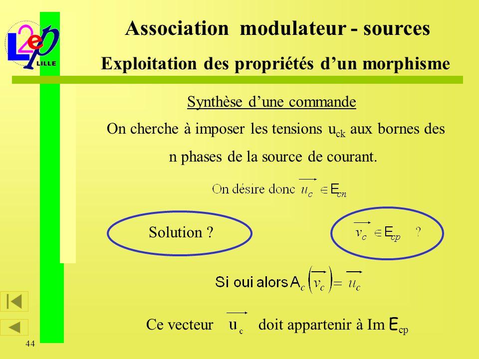 44 Synthèse dune commande On cherche à imposer les tensions u ck aux bornes des n phases de la source de courant. Association modulateur - sources Exp