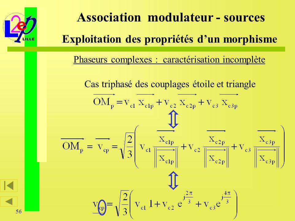 56 Association modulateur - sources Exploitation des propriétés dun morphisme Cas triphasé des couplages étoile et triangle Phaseurs complexes : carac