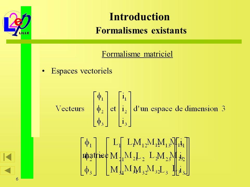 7 Formalisme matriciel Espaces vectoriels Applications linéaires despaces vectoriels ou morphismes Introduction Formalismes existants