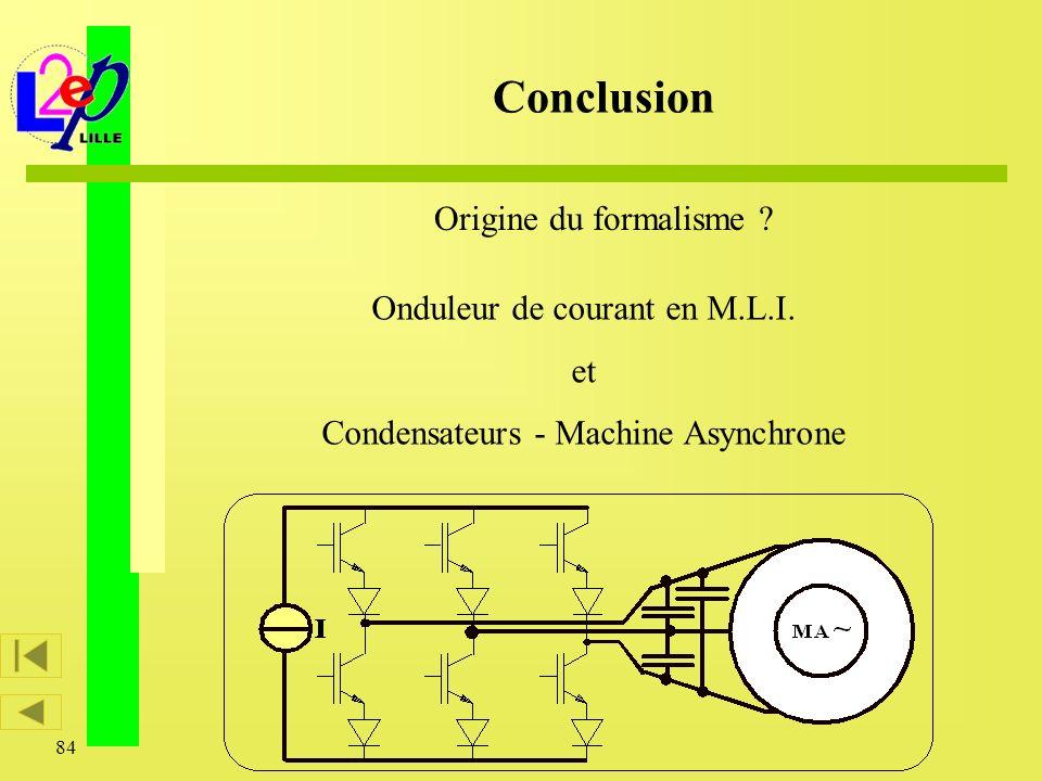 84 Origine du formalisme ? Conclusion Onduleur de courant en M.L.I. et Condensateurs - Machine Asynchrone