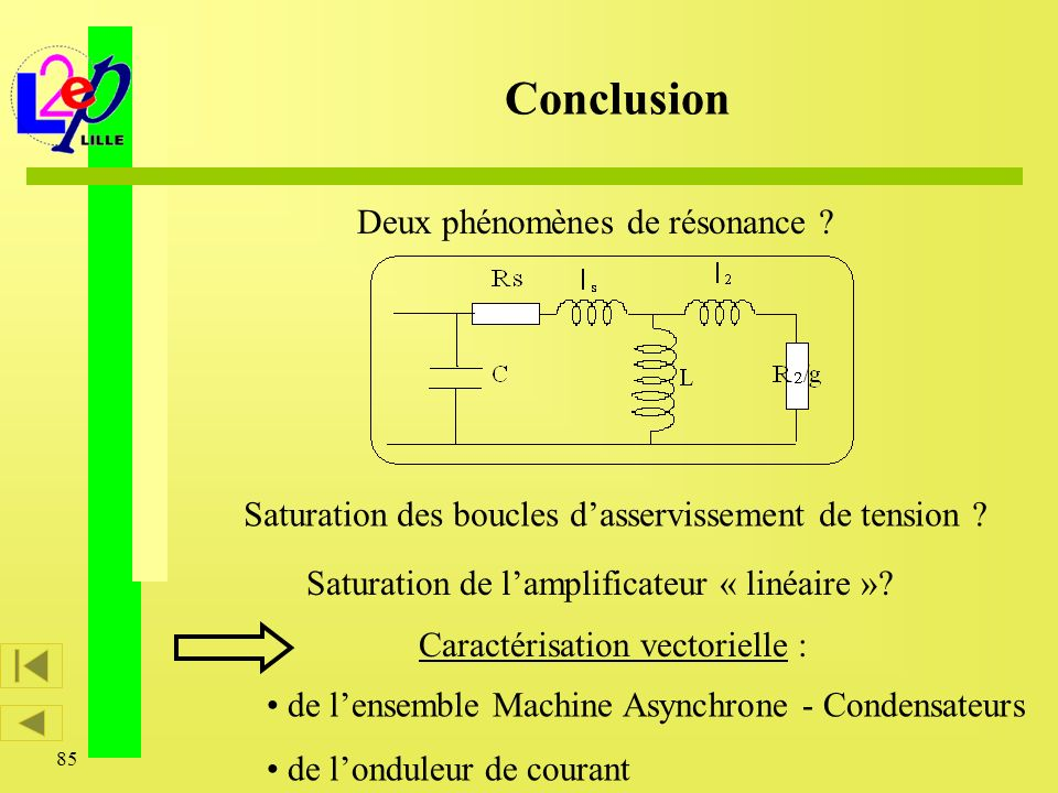85 Conclusion de lensemble Machine Asynchrone - Condensateurs de londuleur de courant Caractérisation vectorielle : Saturation de lamplificateur « lin