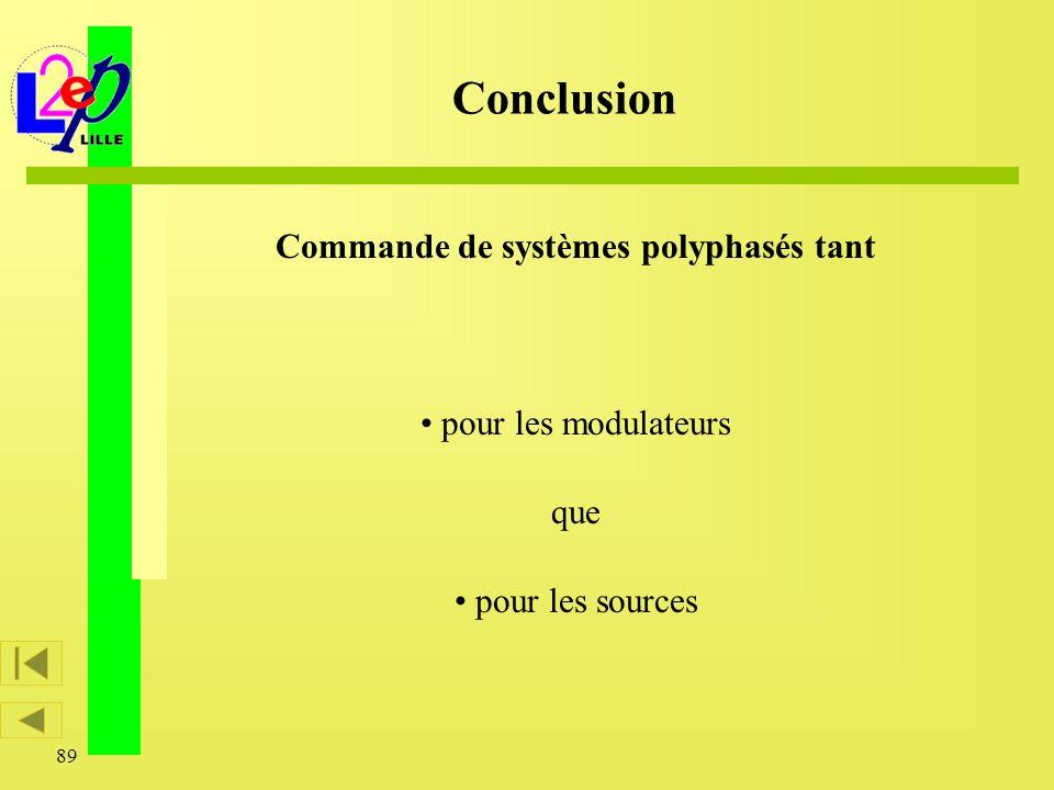 89 Conclusion Commande de systèmes polyphasés tant pour les modulateurs que pour les sources