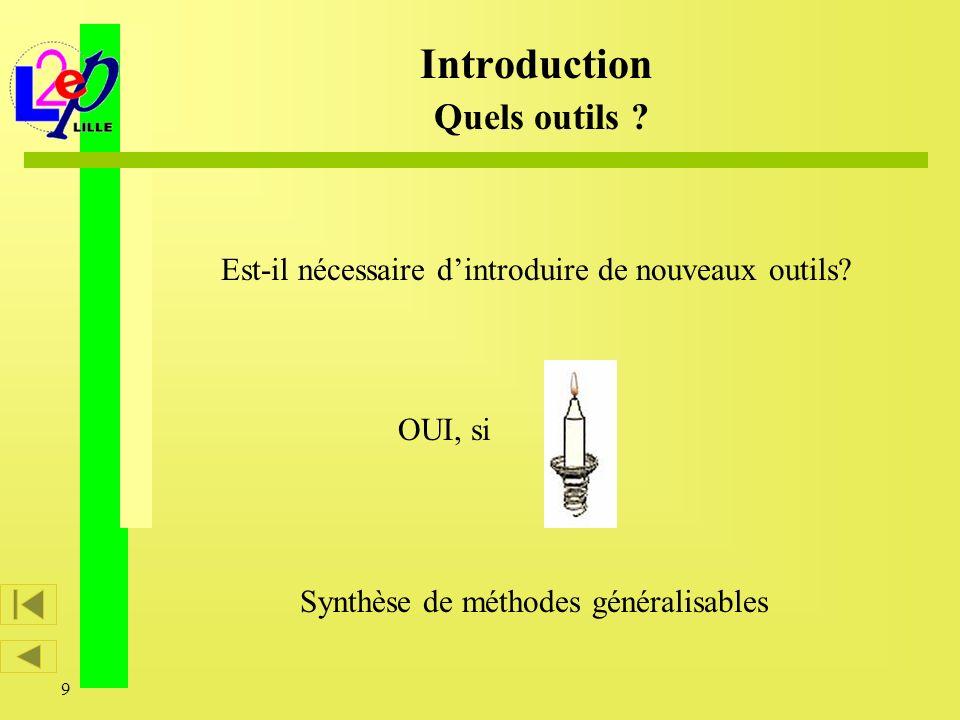 9 Est-il nécessaire dintroduire de nouveaux outils? OUI, si Introduction Quels outils ? Synthèse de méthodes généralisables