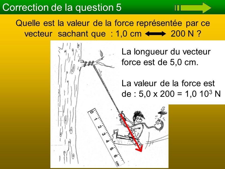 Correction de la question 5 Quelle est la valeur de la force représentée par ce vecteur sachant que : 1,0 cm 200 N ? La longueur du vecteur force est