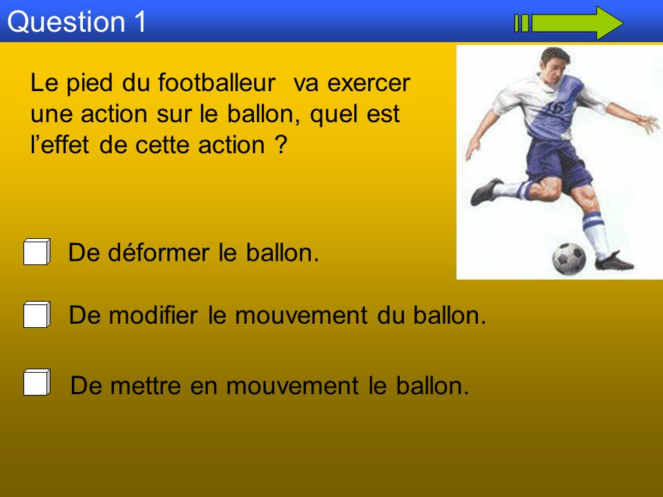 Le pied du footballeur exerce une action sur le ballon initialement immobile.
