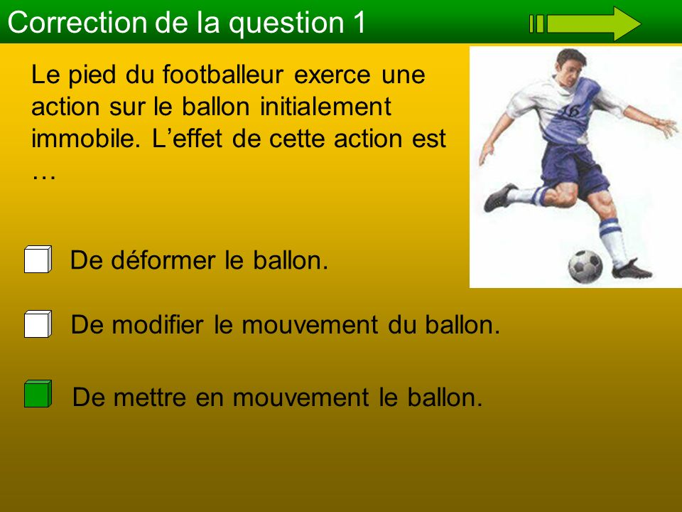 La raquette exerce une action sur la balle, quel est leffet de cette action .