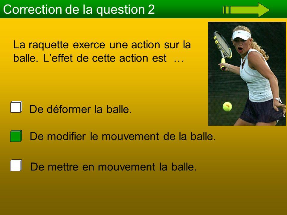 La raquette exerce une action sur la balle. Leffet de cette action est … Correction de la question 2 De mettre en mouvement la balle. De modifier le m