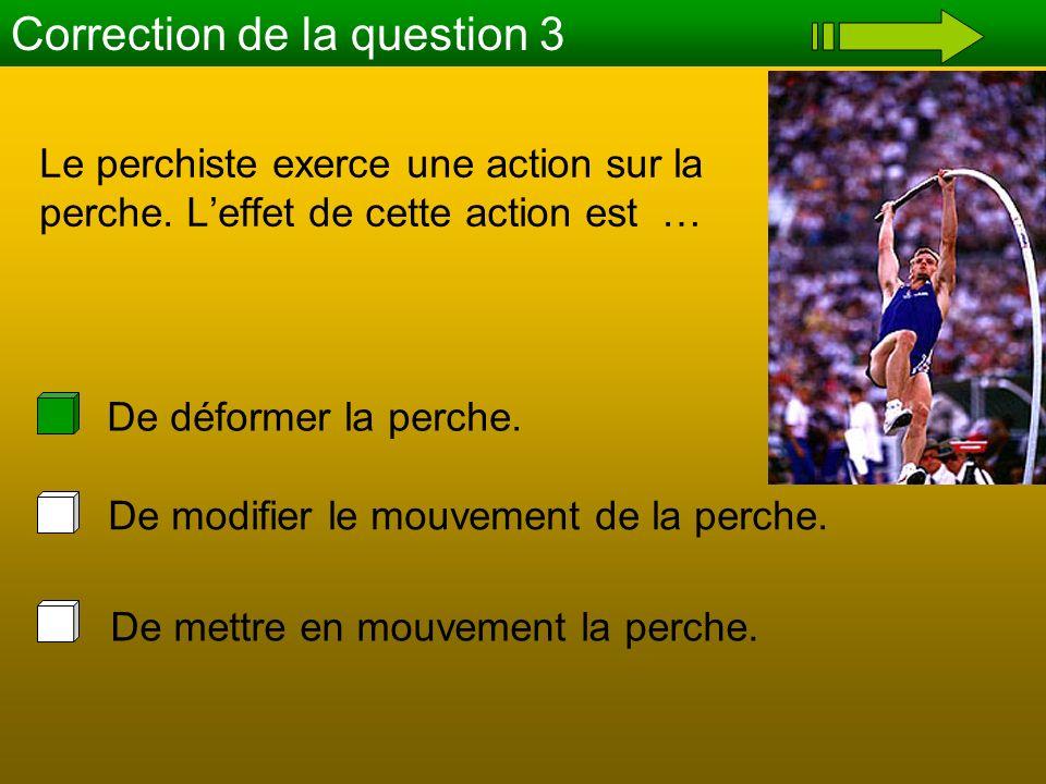 Le perchiste exerce une action sur la perche. Leffet de cette action est … Correction de la question 3 De mettre en mouvement la perche. De modifier l