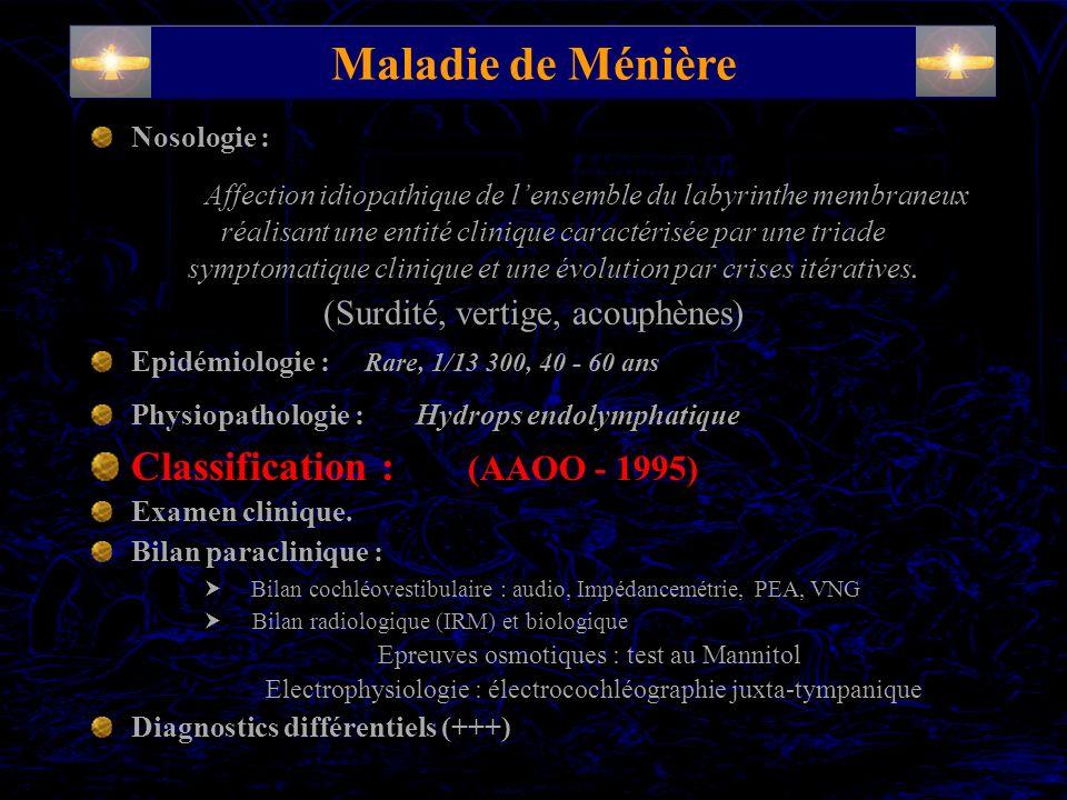 Classification : (AAOO - 1995) 1) Maladie de Ménière confirmée : - Ménière certaine et confirmation histopathologique.